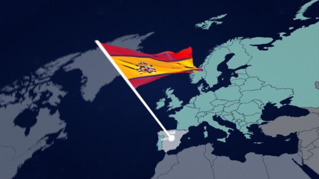 マップ上の 4 k スペイン フラグ - スペイン国旗点の映像素材/bロール