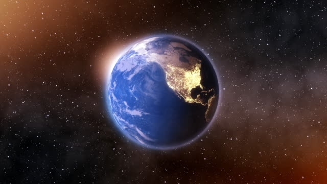 vídeos de stock e filmes b-roll de 4k spinning earth on space background animation seamless loop - girar