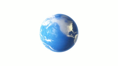 4k spinning earth on white background animation seamless loop - infographic stock videos & royalty-free footage
