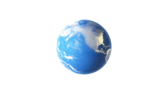 4k spinning earth on white background animation seamless loop - hd format stock videos & royalty-free footage