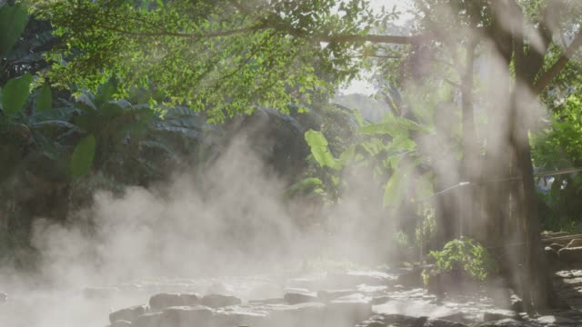 4k ,stream hot spring water in sun rise - geyser video stock e b–roll
