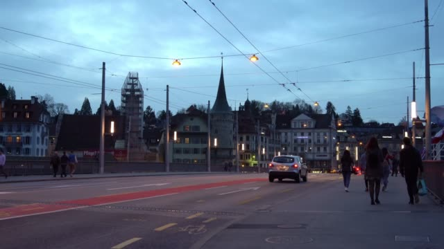 4k streets of lucerne, switzerland - level crossing stock videos & royalty-free footage