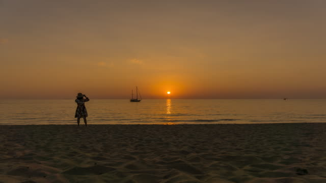 4k summer sunset beach day to night time lapse, ko lanta, thailand - ko lanta stock videos & royalty-free footage