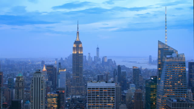 4k sunset timelapse (blue hour) of Manhattan, New York, from a high point of view and with the Empire State