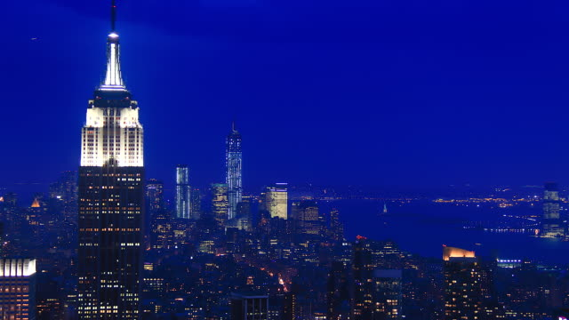 4k sunset timelapse (blue hour) of New York with the Empire State, from a high point of view