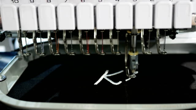 4k textile embroidery machine - embroidery stock videos & royalty-free footage