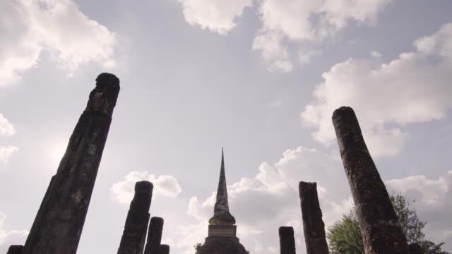 4k Tilt down at Wat Sa-si Temple in sukhothai historical park in Thailand.
