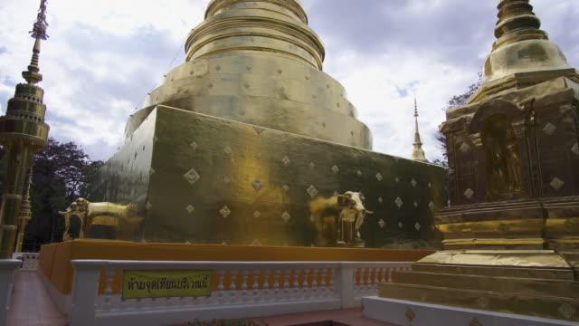 4k tilt up of Wat Phra Sing in Chiang mai, Thailand.