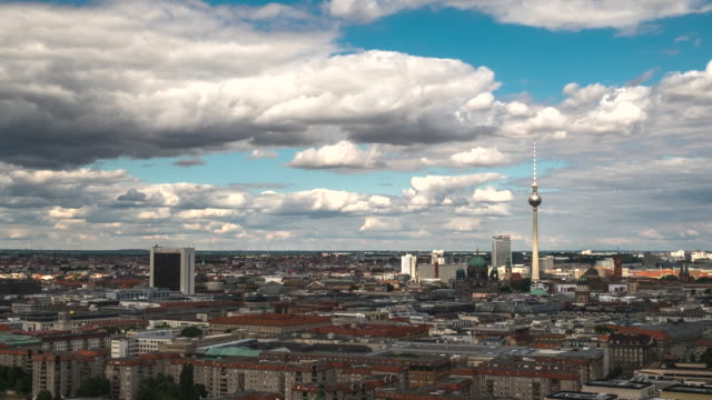 4k time lapse :  aerial view berlin cityscape - east germany stock videos and b-roll footage
