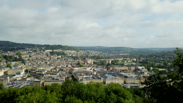 4k time lapse : aerial view of bath city - somerset stock videos & royalty-free footage