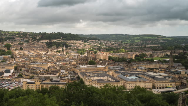 4k time lapse : aerial view of bath city - bath stock videos & royalty-free footage
