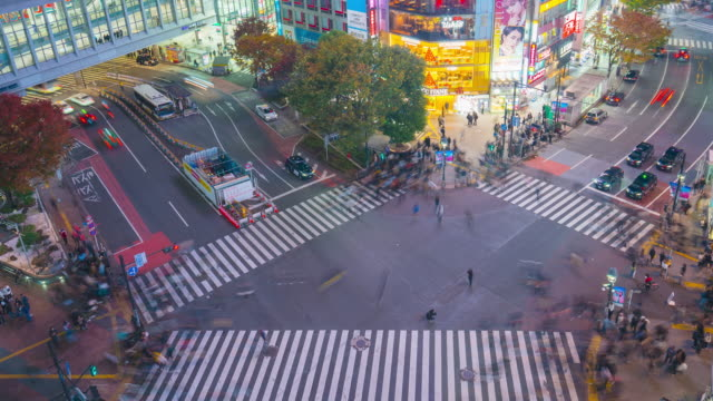 4k time lapse aerial view of pedestrians walking across with crowded traffic at shibuya crossing square - zebra crossing stock videos & royalty-free footage
