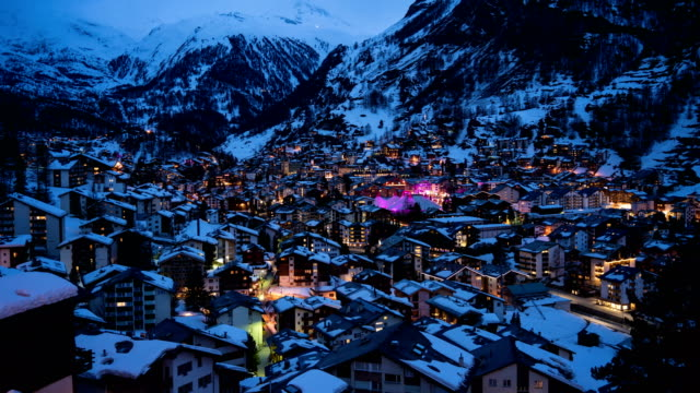 4k Time lapse : Aerial View on Zermatt village and Matterhorn Peak, Switzerland