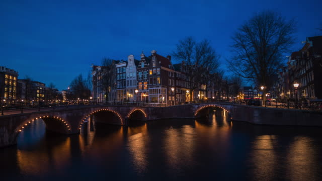 4k time lapse : amsterdam canals at twilight - amsterdam stock videos & royalty-free footage
