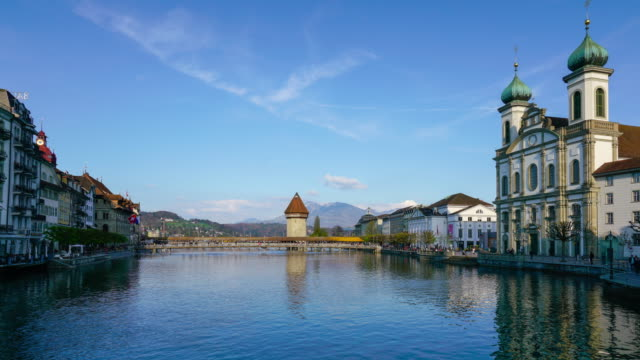 4k time lapse chapel bridge, luzern, switzerland - chapel stock videos & royalty-free footage