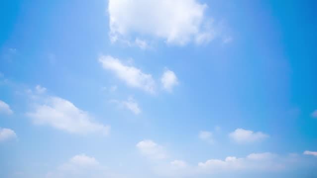 vídeos de stock e filmes b-roll de 4k time lapse clear sky background with large cloud - claraboia