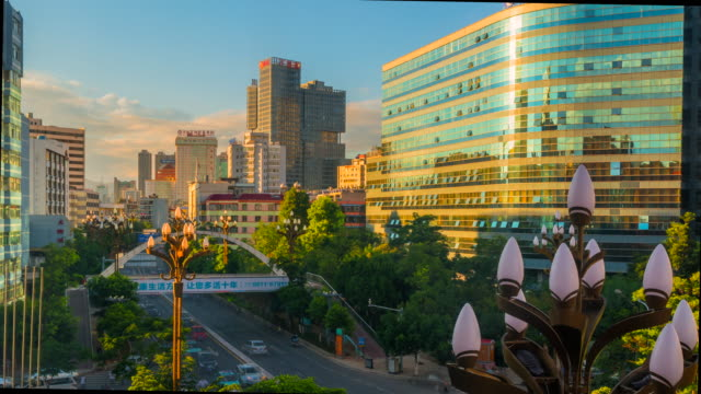 4k time lapse day to night scene of the  city of kunming in china. - yunnan province stock videos and b-roll footage