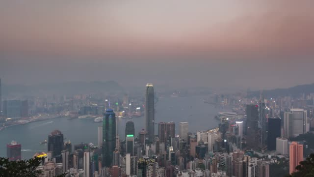 4k time lapse day to night sunrise scene of hongkong cityscape view from victoria peak, Hong Kong