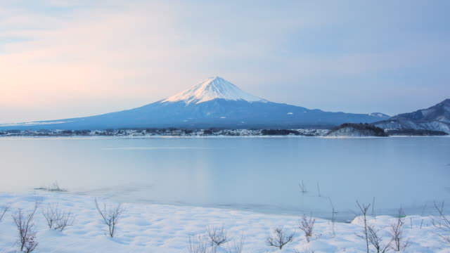 4k Time lapse During Day Scene of mt. Fuji in Winter Season, Japan