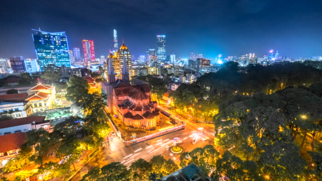 4k time lapse movie of beauty notre dame cathedral in ho chi minh city, vietnam - vietnam stock videos and b-roll footage