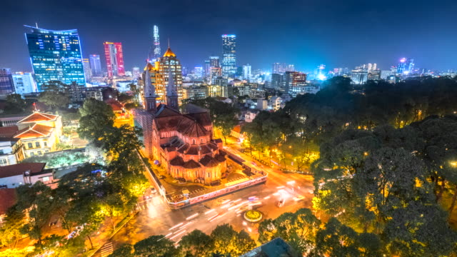 4k Time lapse movie of Beauty Notre Dame cathedral in Ho Chi Minh City, Vietnam