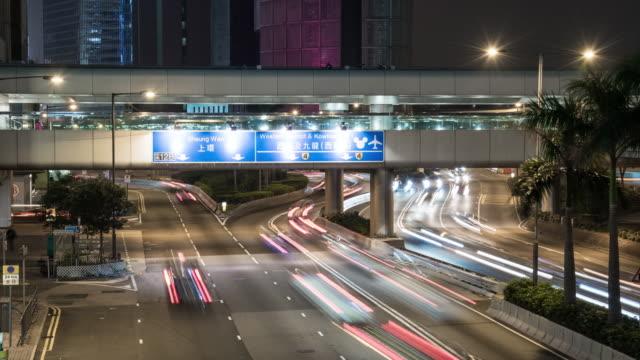 4k, time lapse , night city Hong Kong