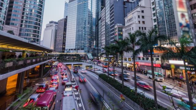 4k time lapse of Busy traffic on urban street in Hongkong