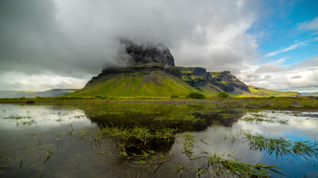 4k Time lapse of Dramatic cloudscape at Mountain Lomagnupur in Summer of Iceland