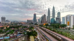 4k time lapse of dramatic sunrise at Kuala Lumpur city. Moving and changing color clouds. Aerial view.
