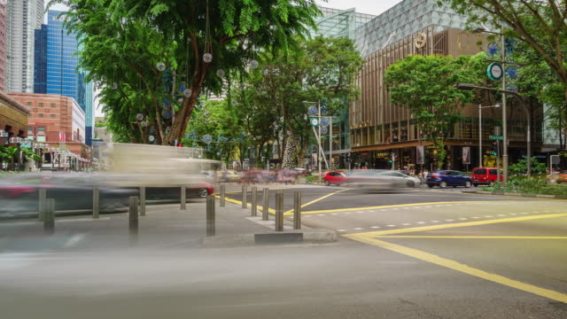 stockvideo's en b-roll-footage met 4 k time-lapse van orchard road in singapore - boomgaard