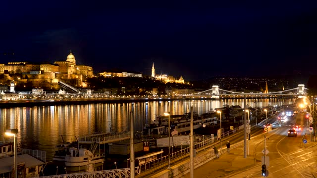 4k time lapse of rush hour busy traffic at night in the city of budapest hungary - traditionally hungarian stock videos & royalty-free footage