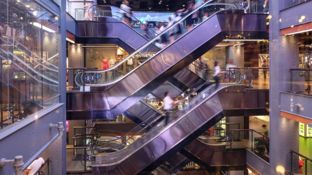 4k Time Lapse of Shopping center Escalator