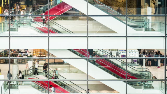 4k time lapse of shopping mall escalator - shopping mall stock videos & royalty-free footage