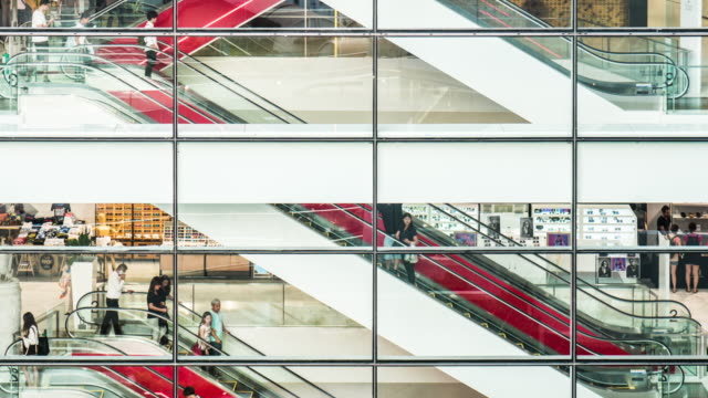 4k Time Lapse of Shopping Mall Escalator