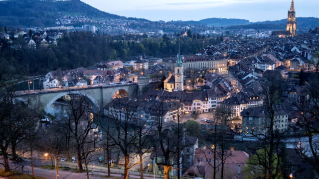 4k Time lapse : Old Town of Bern, Switzerland, Zoom In Shot