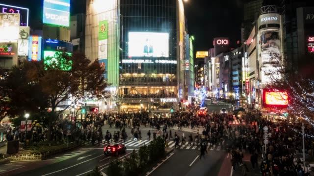 4k time lapse: pedestrian walking crossing shibuya crossing intersection, shibuya, tokyo, japan