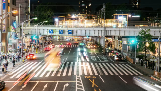 4k time lapse : pedestrians crowded crossing at ueno ,tokyo ,japan. - development stock videos & royalty-free footage