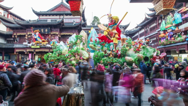 4k, Time Lapse , Shanghai Yuyuan Garden in New Year