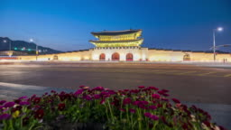 4k Time lapse Traffic at Gyeongbokgung Palace in Seoul City,South Korea