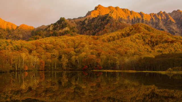 秋の kagamiike 池の4k タイムラプスワイドショット、長野、日本。 - 紅葉点の映像素材/bロール