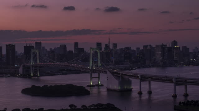 4k Timelapes : Aerial Tokyo Rainbow bridge at sunset