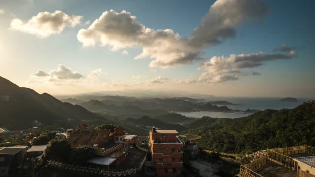 4k timelaps : view of jiufen old city, jiufen, taiwan - tea ceremony stock videos and b-roll footage