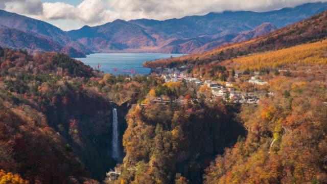 4k time-lapse at kegon falls in autumn season, nikko, japan. - high dynamic range imaging stock videos and b-roll footage