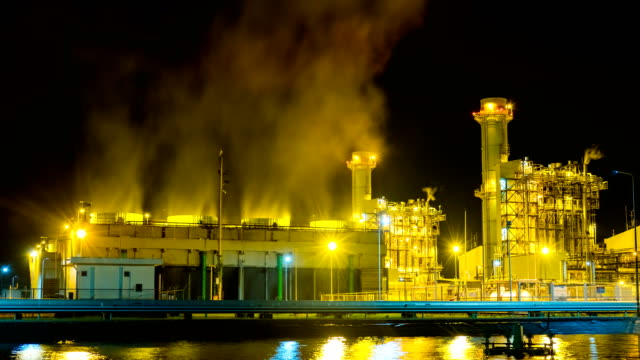 4k timelapse at night of combined cycle powerplant