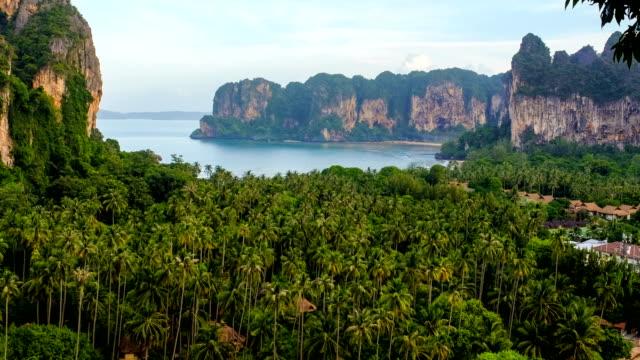 4k timelapse at viewpoint near railay beach, thailand - railay beach stock videos and b-roll footage
