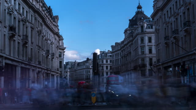 4k time-lapse: crowd at oxford circus downtown shopping street in london england uk - oxford circus stock videos and b-roll footage