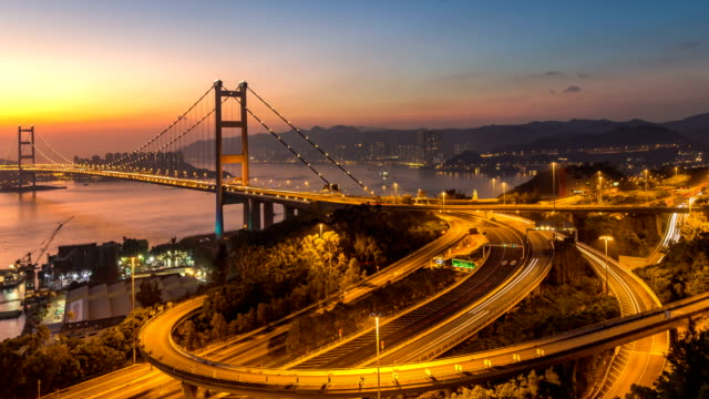 4k time-lapse day to night scene with traffic light of Tsingma bridge from top view ,Hongkong