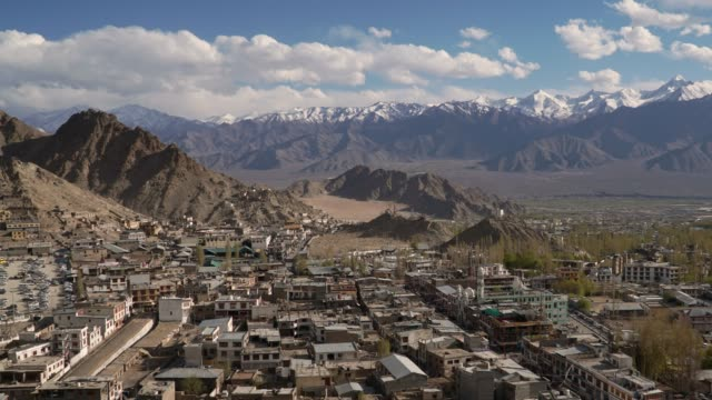 4k, timelapse, dolly shot; Leh Ladakh city in India at winter season.