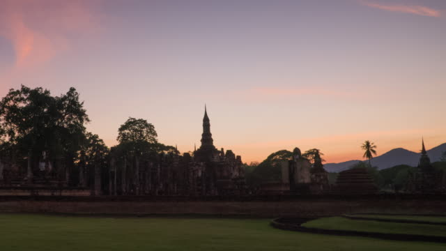 4k timelapse dolly shot of Wat Mahathat Temple in sukhothai historical park in Thailand.