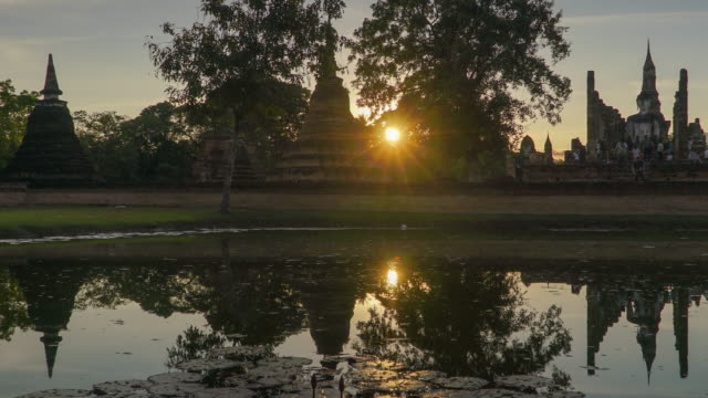 4k timelapse dolly shot, Wat Mahathat Temple in sukhothai historical park in Thailand.